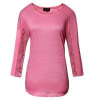 Pink Cotton Lace T Shirt Casual Ladies Clothing 3 / 4 Sleeve Manufactures