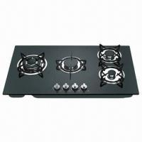 Gas Stove with 4 Burners and Automatic Pulse Ignition, Colorful Glass Panel for Option Manufactures