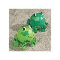 "PVC Green Frog Beach Toys Inflatable Animal Beach Balls 10"" Overall Size Measures 14"" Manufactures"