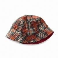 Women's Bucket/Floppy Hat, Made Cotton Plaid and Polyester Fleece, OEM Orders are Welcome Manufactures