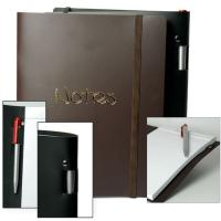 Quality A5 or A4 Blue Leather Cover embossed Custom Printed Notebook for Business Agenda for sale