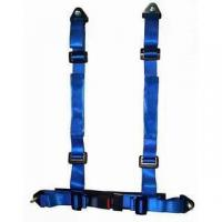 Durable Blue Nylon Racing Safety Belts With Retractor , Four Point Seat Belt Manufactures