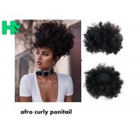 Black Synthetic Hair Pieces , Afro Curly Human Hair Ponytail Extensions Manufactures