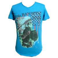Blue Printed Slub Jersey Mens Tee Shirts V Neck Boys Fashion Tops Manufactures