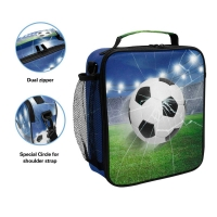 3D Football Kids Insulated Lunch Bag With Shoulder Strap Manufactures
