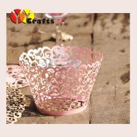 China Laser Cut Cupcake Wrappers pink Laser cutting ivy vine cupcake wrappers flower branch lace cupcake wrapper for wedding on sale