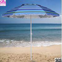 Steel Frame Outdoor Parasol Umbrella UV Protection For Sandy Beach Sunshade Manufactures