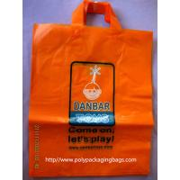 Orange Plastic Clothes Packaging Soft Loop Handle Bag in HDPE LDPE Manufactures
