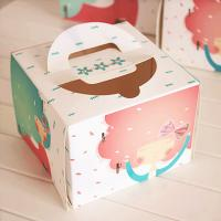 Quality Individual Window Take Away Cake Boxes Rigid Art Paper Pontone Offsent Printing for sale