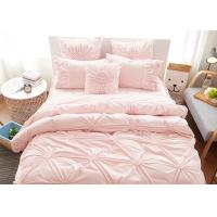 Quality Pink / Blue / White Ruched Home Comforter Bedding Sets 4 Pcs 100% Cotton for sale