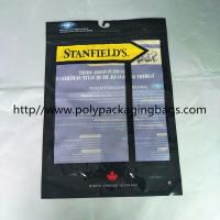 Custom Made Plastic Clothing Foil Ziplock Bags Self - Standing With Hook Manufactures