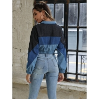 Contrast Sleeves Cotton Zip Through Youth 12oz Womens Short Jean Jacket Manufactures