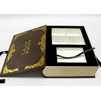 Handmade Decorative Book Boxes , Luxury Book Shaped Gift Box With Ribbon Manufactures