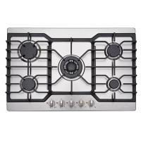 Five Burner Kitchen Gas Hobs Stainless Steel With Cast Iron Pan Support Manufactures