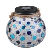 Colour Changing Solar Garden Lights , Blue / Green Diamond Glass Jar Solar Lights Manufactures