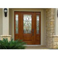 Exterior Solid Wood Door Front Entry Inswing / Outswing Opening With Sidelites Open Door Manufactures