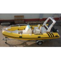 Quality Coast Guard Rigid Bottom Inflatable Boats Center Console Yellow 1.2mm PVC for sale