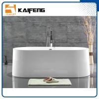 Large Oval Acrylic Freestanding Soaking Bathtubs White Color With Overflow Manufactures