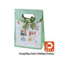 Quality Cute Green Paper Gift Bags Velcro Matt Lamination Bow Tie Decoration Style for sale