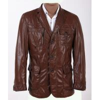 Three Buttons OEM Excelled Stylish and Designer, Size 48, Dark Red Mens Leather Blazers Manufactures
