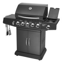 5 Burners And Side Burner Gas BBQ Grill With Gast Iron Hotplate And Enamel Hoods Manufactures