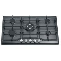 Black Stainless Steel Black Gas Hob 5 Burner , 86cm Five Burner Gas Stove Manufactures