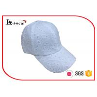 China White eyelet baseball cap , 6 panel bend peak cap with white snapback on sale