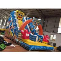 Custom Design Wet And Dry Inflatable Slide Spongebob Theme High Density Manufactures
