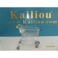130L Supermarket store Metal Shopping Cart With Curve Handle and swivel flat casters Manufactures
