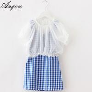 China Angou Girl Dress Chiffon Children Summer Clothing Kids Dresses Princess dress two pieces on sale