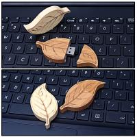 Natural Retro Style of  Leaf  Wood USB Flash Drive High Speed USB 2.0 128MB - 64GB Manufactures
