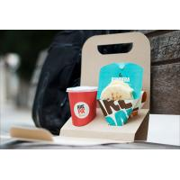 Quality Recyclable Take Away Food Packaging , Coffee / Breakfast Brown Kraft Paper Food Packaging for sale