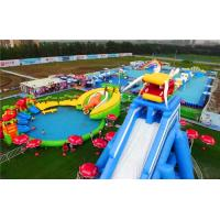 Super Large Inflatable Water Park With Long Ramp / Outside Inflatable Water Slide Manufactures