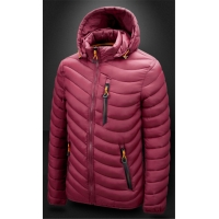 Men'S Winter Nylon Fabric Quilted Jacket With Detachable Hood Manufactures