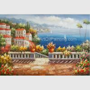 Handmade Mediterranean Landscape Oil Painting Garden Scene Oil Painting for Decor Manufactures