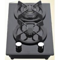 Black Double Burner Gas Hob Glass Top , Kitchen Two Burner Gas Cooker Manufactures