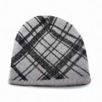 Men's Knitted Hat, Made of Acrylic with Classical Check Pattern Manufactures