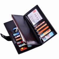 Oil Wax Leather Black Clutch Bag With Multi Card Position , Thin Long Trifold Womens Wallet Manufactures