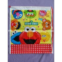 Kids Cute Plastic Drawstring Backpack With Sesame Street Cartoons Manufactures