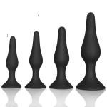 Couple pleasure body safe Anal Sex Toys 4 Piece purple black Silicone Anal Plug butt plug Set Manufactures
