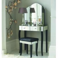 Popular Mirrored Vanity Desk , Black Wooden Mirrored Dressing Table With Drawers Manufactures