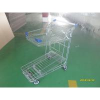 Foldable basket heavy duty metal trolley warehouse 4 swivel flat blue PU casters Manufactures