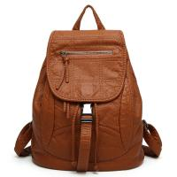 Spring / Summer Fashion Ladies Backpack Washed Leather For Young Girls Manufactures