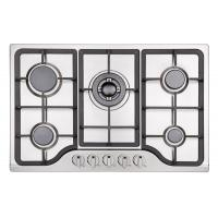 Buy cheap Stainless Steel LPG Gas Hob Auto Ignition , 5 Burner Gas Cooktop Cast Iron Pan Support from wholesalers
