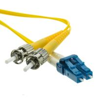 3.0mm PVC Jacket ST to LC Duplex Singlemode Fiber Optic Patch Cord in Yellow Manufactures