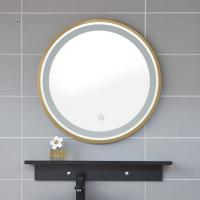 China Aluminum alloy brushed frame hotel bathroom cheap LED anti-fog mirror with clock instructions on sale