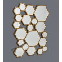 Mixed Hexagon Metal Mirror Wall Decor Silver / Gold Color Optional Manufactures