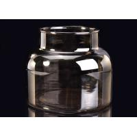 Machine Decorative Glass Candle Holder , Brown Smoking Grey Glass Candle Jars Container Manufactures