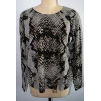 Women Leopard Cashmere Sweater , Long Sleeve Pullover Sweater 12 Gauge Manufactures