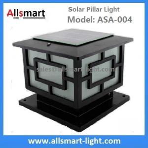 Square Aluminum Solar Pillar Lights Black Lampshade Solar Stone Column Post Lamp Solar Fence Lighting China Factory Manufactures